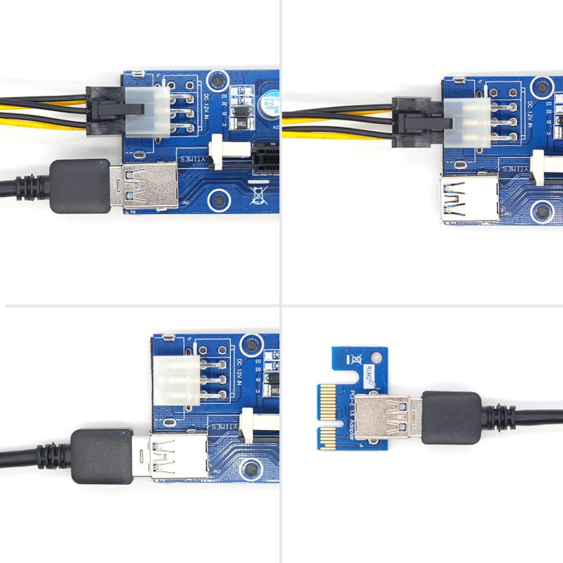 USB3.0 1x to16x Extender Riser Card Adapter SATA Power Cable PCI-E Express