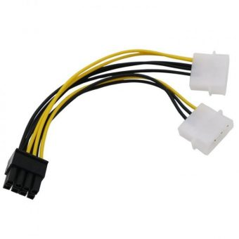 18cm Y Shape 8 Pin PCI Express to Dual 4 Pin Molex Graphics Card Power Cable